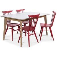 Holger matgrupp 140 cm bord med 4 st röda Thor pinnstolar