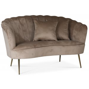 Kingsley 2-sits soffa - Beige sammet / Mässing