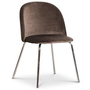 Giovani velvet stol - Mullvadsbrun/Krom
