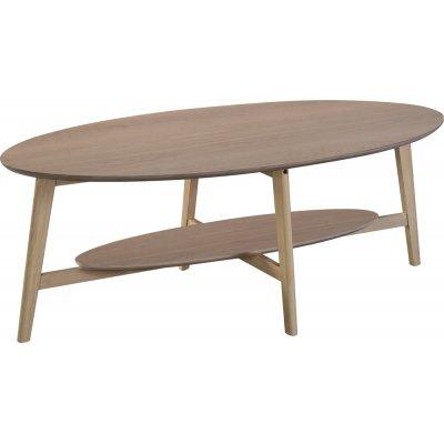 Bridge ovalt soffbord med hylla 140 cm - Whitewash