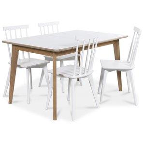 Holger matgrupp 140 cm bord med 4 st vita Linköping pinnstolar