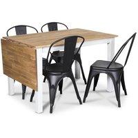 Österlen matgrupp, Klaffbord vit/ek med 4 st svarta Plåtstolar