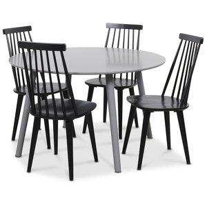 Rosvik matgrupp grått runt bord med 4 st svarta Dalsland Pinnstolar Grå Svarta