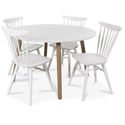 Rosvik matgrupp runt Vit/Ek matbord med 4 st Thor pinnstolar- Vit/Ek