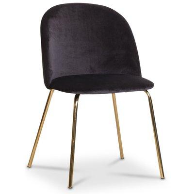 Giovani velvet stol - Svart/Mässing