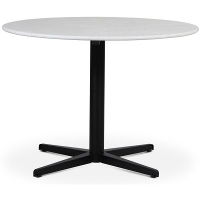 SOHO matbord Ø105 cm - Matt svart kryssfot / Terrazzo Bianco