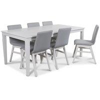Mellby matgrupp 180 cm bord med 6 st Molly matstolar i ljusgrått tyg