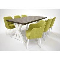 Provence matgrupp - Bord inklusive 6 st stolar - Brun / grön