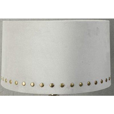 Velvet lampskärm med nitar 33 cm - Beige / Mässing