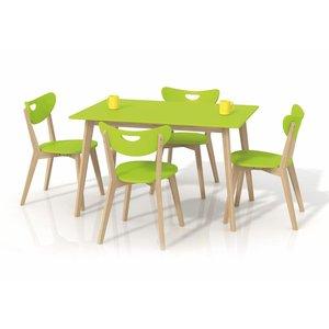 Adelle matbord 120 cm - Björk/limegrön