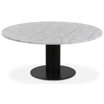 Next runt soffbord i marmor D105 cm - Svart / marmor (Vit)