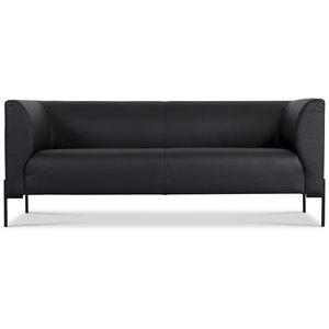 Anna 3-sits soffa - Svart läder