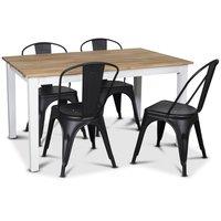 Österlen matgrupp, Klassiskt 140 cm matbord i vit/ek med 4 st svarta metallstolar
