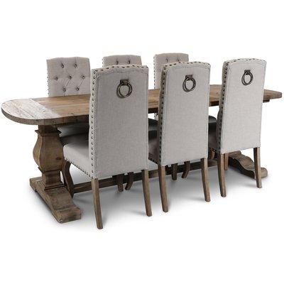 Newcastle matgrupp bord i återvunnet trä + 6 st matstolar i beige linne