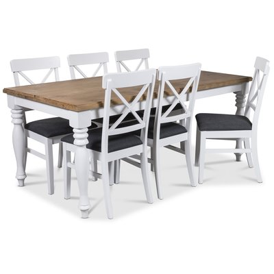 New England matgrupp 180 cm bord med 6 st Elisa matstolar