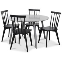 Rosvik matgrupp grått runt bord med 4 st svarta Linköping pinnstolar