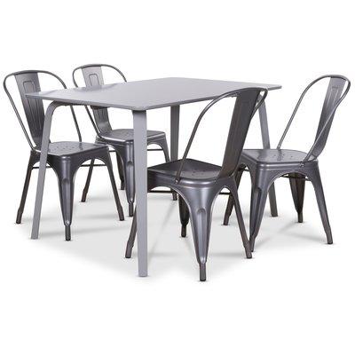 Visby matgrupp grått bord med 4 st Industry Plåtstolar - Grå / Metall