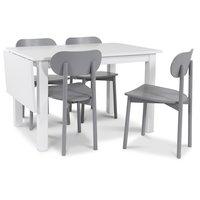 Sander matgrupp Klaffbord + 4 st gråa Alvaro stolar