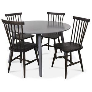 Rosvik matgrupp runt grått matbord med 4 st Karl pinnstolar- Grått / Brunoljad ek