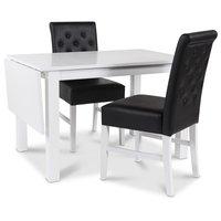 Sander matgrupp Klaffbord + 2 st svarta Spencer stolar