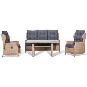 Brisbane utemöbelgrupp 3+1+1 recliner med bord - Natur (konstrotting)
