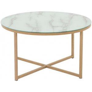 Link runt soffbord med marmorerat glas - Ø80 cm