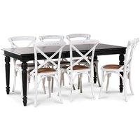 Paris matgrupp 180 cm bord svart + 6 st vita Gaston matstolar