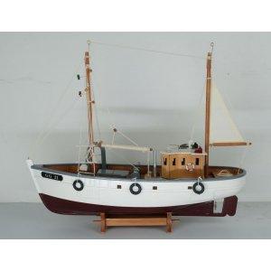 Modellbåt klassisk Fiskebåt - Brun/vit