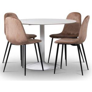 Seat matgrupp, runt matbord med 4 st Carisma sammetsstolar - Vit/Korall