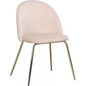 Giovani velvet stol - Ljusbeige/Mässing