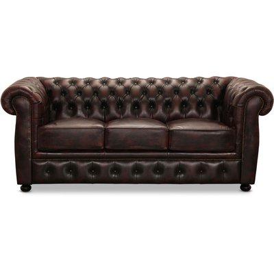 Dublin 3-sits soffa - Oxblod läder