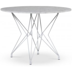 Zoo matbord Ø105 cm - Vit / Ljus Marmor