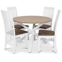 Skagen matgrupp - Runt bord inklusive 4 st Herrgård Vindö stolar med brun vintage sits - Vit/Ekbets