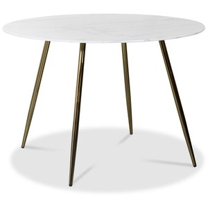Art runt matbord 110 cm - Marmorerat glas / Mässing