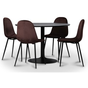 Seat matgrupp, matbord med 4 st Carisma sammetsstolar - Svart/Bordeaux