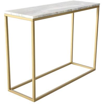 Accent konsolbord - Vit marmor & mässingsfärgat