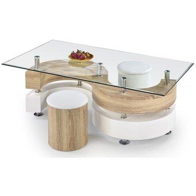 Meeting soffbord inklusive sittpuffar - Ljus ek/Vit