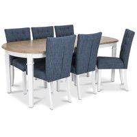 Ramnäs matgrupp - Bord inklusive 6 st Crocket stolar i blå klädsel - Vit/ekbets
