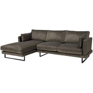 Florance soffa med divan till vänster - Grå sammet