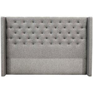 Almedal sänggavel med knappar (Grå Rocco281) - Valfri bredd
