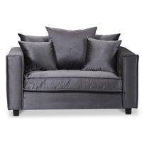Brandy Lounge fåtölj 1,5-sits soffa - Mörkgrå (sammet)