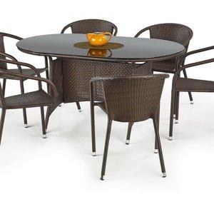 Benin matbord 150 cm - Svart/mörkbrun