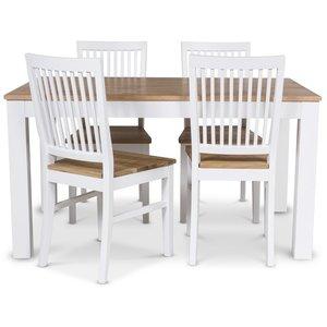 Dalarö matgrupp 140 cm bord vit/ek + 4 st Dalarö stolar