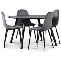 Rosvik matgrupp, matbord med 4 st Carisma sammetsstolar - Grå/Svart