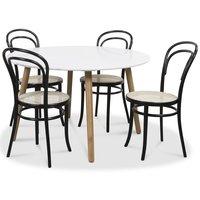 Rosvik matgrupp Runt bord vit/ek med 4 st svarta Thonet no14 stolar