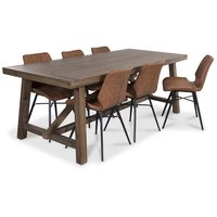 Colorado matgrupp, 200cm brunbetsat bord med 6 st Unique stolar i vintageklädsel