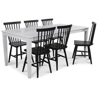 Mellby matgrupp 180 cm bord med 6 st svarta Karl Pinnstolar
