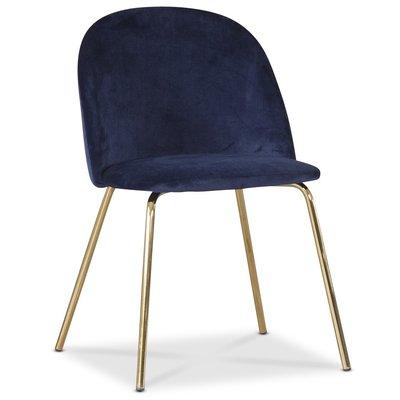 Giovani velvet stol - Blå/Mässing