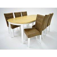 Ramnäs matgrupp - Bord inklusive 6 st Crocket stolar - Vit/ek