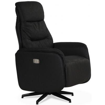 Comfort Saga (el) reclinerfåtölj med inbyggt fotstöd - Svart ecoläder
